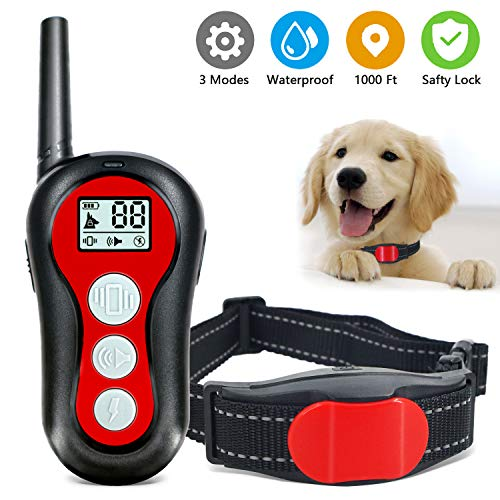 TOCESS Dog Training Collar, Waterproof Shock Collar with Remote, 1000Ft Range, 3 Training Modes, Beep, Vibration and Shock, Rechargeable Bark Collar Set for Small Medium Large Dogs (Red)