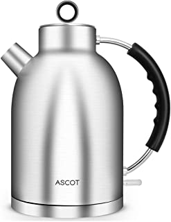 ASCOT 1.7L Electric Kettle, Stainless Steel Kettle, Hot Water Kettle & Tea Heater with Food Grade Material No Plastic Inside,Cordless Water Boiler Fast Heating Auto Shut-Off & Boil-Dry Protection