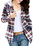 Asher Women Classic Long Sleeves Cotton Hoodie Button-up Plaid Shirts (Tag Size L,US S, Gray)