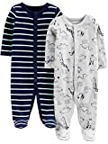 Simple Joys by Carter's Baby Jungen 2er Pack Baumwolle Fuß Sleep and Play ,Animals Green/Stripe ,3 - 6 Months
