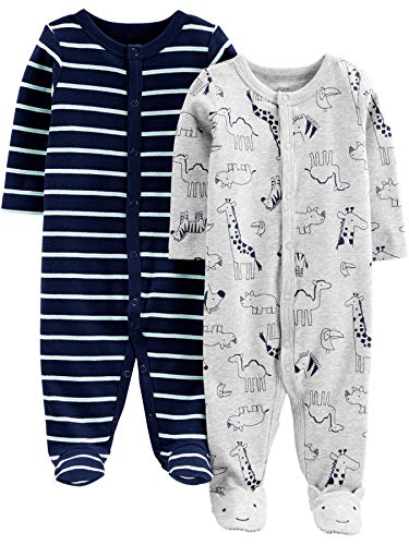 Simple Joys by Carter's Baby Jungen 2er Pack Baumwolle Fuß Sleep and Play ,Animals Green/Stripe ,0 - 3 Months