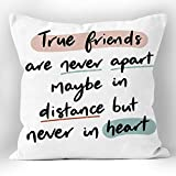 XUWELL True Friends are Never Apart Maybe in Distance But Never in Heart Soft Throw Pillow Cover, Long Distance Friendship Gifts, Cushion Case for Sofa Bed Home Decor 18 x 18 Inch