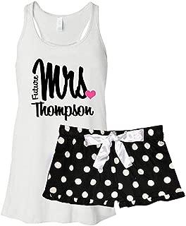 Personalized Future Mrs. Bridal Pajama Set - Black Polka Dots