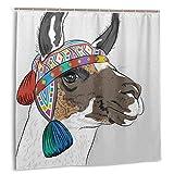 LiBei Impermeable Cortina de Ducha,Llama Alpaca con un Sombrero de Color étnico Perú Tela Set de decoración de baño con Ganchos 150cmx180cm