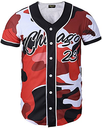 PIZOFF Short Sleeve Arc Bottom 3D Camouflage Print Baseball Jersey Shirt Y1724-23-S