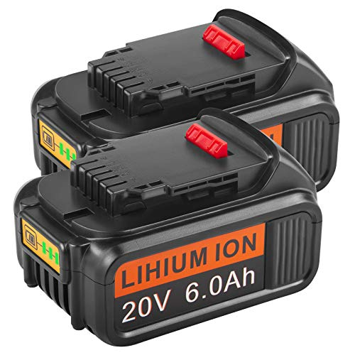 Upgraded 6.0Ah 20V Replacement Battery for 20V Max XR DCB206 DCB180 DCD985B DCB200 DCB200-2 DCB204 DCB204-2 DCB205 DCB205-2 DCD/DCF/DCG Series Cordless Power Tools (2 Pack)