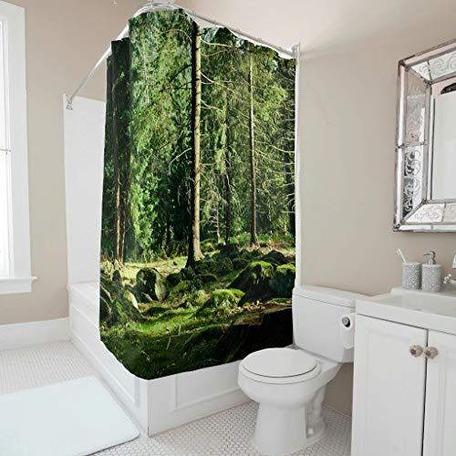 Gamoii Natur Grüne Bäume Wald Landschaft Duschvorhänge Bad Gardinen Personalisiert Badewanne Vorhang Badezimmer Decor Duschvorhänge mit Vorhanghaken White 120x200cm
