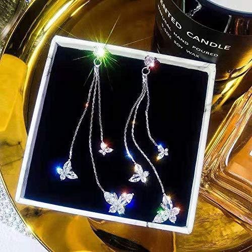 LIEQUAN Pendientes Mujer s925 Pendientes de Aguja de Plata borlas largas joyería de Temperamento de Mariposa de circón(Mariposa Plateada)