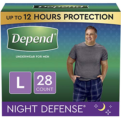 Depend Night Defense Incontinence Underwear for Men, Overnight, Disposable, Large, 28 Count (2 Packs of 14) (Packaging May Vary)