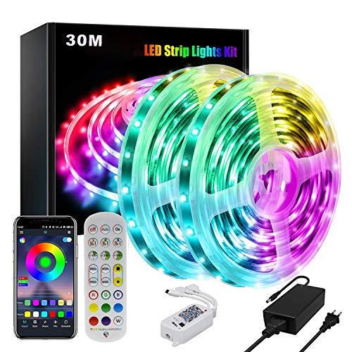 MINGRT Tira de luces LED RGB de 30 m con mando a distancia, aplicación Bluetooth controlable, sincronización de música, cambio de color, cinta adhesiva 5050 para dormitorio, TV, armario