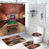 Modern Decor 69x75 inch Shower Curtain Sets,Entertainment Room in Mansion Pool Table Billiard Lifestyle Photo Print Toilet Pad Cover Bath Mat Shower Curtain Set 4 pcs Set,Cinnamon Brown Green