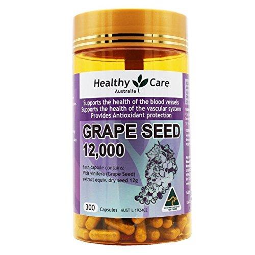 Healthy Care Extracto de semilla de uva 12000 frasco de oro 300 Cápsulas fabricado en Australia con un nudo regalo