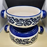 Elegant Hanpainted Pickle/Curd/Butter Bowl (Set of 2) Made in India (Classy Blue) Unique