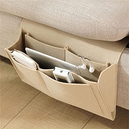Bolsa de almacenamiento para mesilla de noche, de fieltro, para sofá, con mando a distancia, organizador de almacenamiento para cama, color amarillo