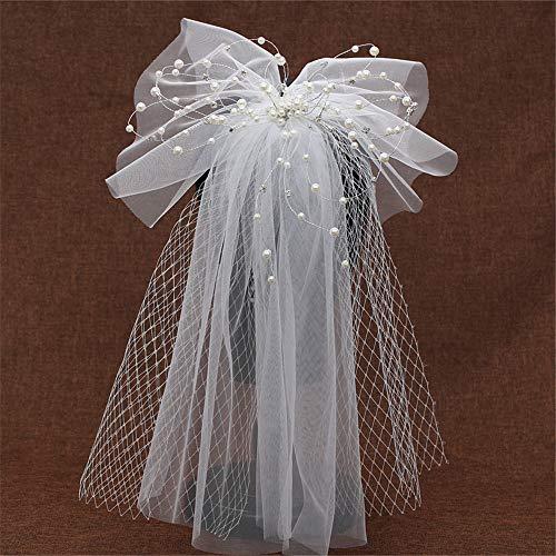 SWECOMZE Braut Schleier Hochzeit Schleier Haarschmuck Spitze Brautschleier mit Kamm Brautkleid Zubehör Set 76cm 2 Schicht