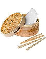Bambu ångkorg 25 cm / 10 tum - Inkluderar 2 lager korgar med lock, 2 par återanvändbara ätpinnar, 1 tänger och 50 foder - två lager trä bambu ångkokare för matlagning dumplingar, grönsaker, ris eller kött