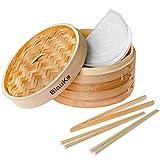 Panier Vapeur Bambou 25cm avec 2 Paires de Baguettes Réutilisables, 50 Papiers de Cire et Pinces - Cuiseur Bambou Avec...