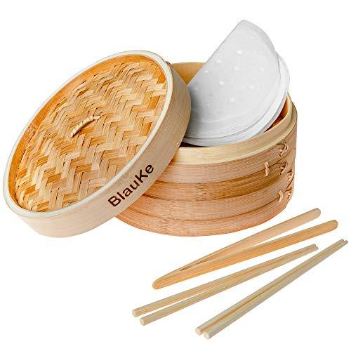 Bambusdämpfer 25cm mit 2 Etagen (2 Bambus Dampfkörbe mit Deckel) Inkl. 2 Paar Essstäbchen, Zange, 50 Papier-Einsätze - Dampfgarer aus Bambus für Knödeln, Gemüse, Reis und Fleisch- Dampfgarer aus Holz