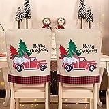 XhuangTech, coprisedie natalizie, 2 pezzi, coprisedia per sedie da pranzo, per Natale, banchetti, festività e festival (camion rosso-2 pezzi)