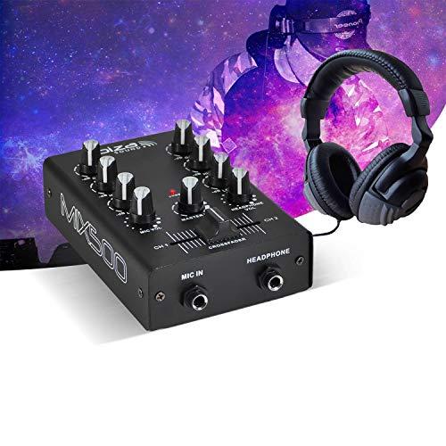 2-kanaals mixer 2 line-ingangen + 1 MIC-ingang + stereo-headset