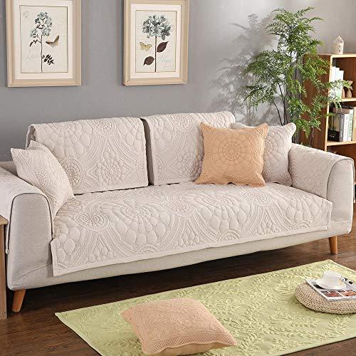 Funda de sofá de algodón de 1/2/3/4/5 plazas, bordado de flores, cubierta de sofá seccional, cubierta de muebles de tela de gama alta para sofás-Blanco-110*210cm