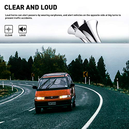 MKING Air Horn 12V Super Loud Horn 150DB , Train Horn for Trucks Single Zinc Trumpet Truck Waterproof Horn with Compressor for Any 12V Vehicles Trucks Trains Boats Cars. (Double silver)
