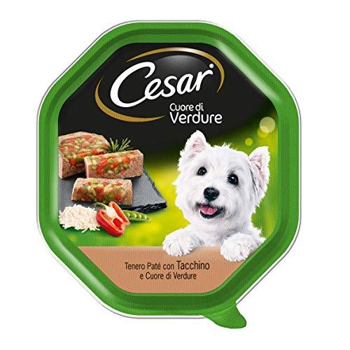 Cesar Corazón de Verduras tierna Comida para Perro, paté con Pavo y corazón de Verduras, 150 g – 14 bandejas