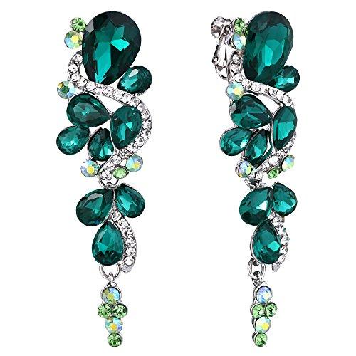 Clearine Orecchini Corte stile Cristallo Sposa Multiplo a goccia a Goccia Avvitare indietro Clip-On Ciondola gli orecchini Smeraldo Colore Argento-fondo