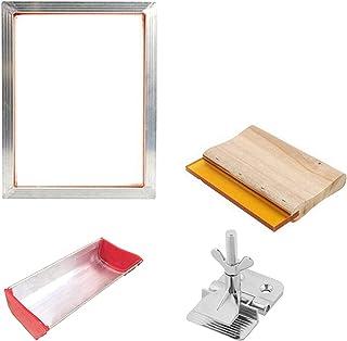 CROSYO Kit d'impression à écran de Soie 43/120T Sérigraphie en Aluminium de Maille de Silkscreen + Pince à charnière + ému...