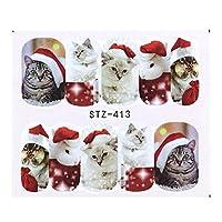 1シートクリスマスネイルアートウォーターステッカー漫画ヘラジカ雪だるまフルカバースライダーヒント用ポーランドジェルネイルデコレーションSASTZ405-438 STZ413