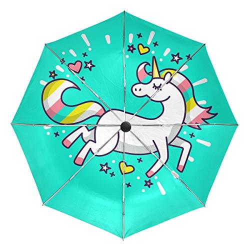 MALPLENA - Paraguas automático de Unicornio para Hombre y Mujer, Ideal para Regalo, Unisex Adulto, MN-331, 2, Talla única