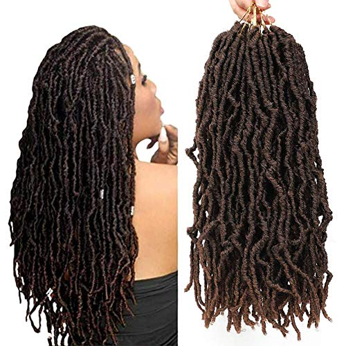 "Faux Locs Crochet Hair 6 Packs 18 Inch Nu Goddess Locs Crochet Hair Braids Ombre Brown Befunny Prelooped Soft Dreadlocks Natural Wavy Pre Looped Dreads Synthetic Braiding Hair For Women(18"",T1B/30#)"
