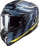 LS2, Casco Integral para Moto, Challenger Llamas, Azul Carbo