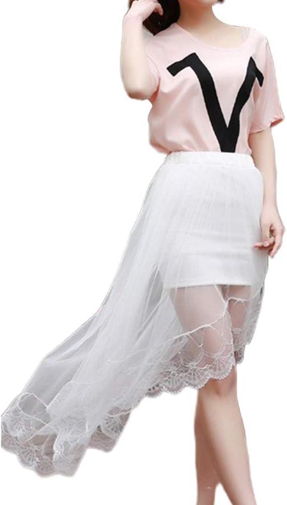 niumanery Women Girls Summer High Waist Layered Sheer Mesh Swallowtail Midi Long Skirt Asymmetric Scalloped Lace Hem Pleated Party Dress White