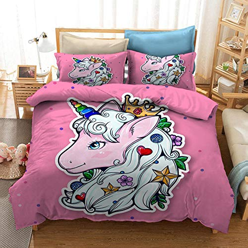 AHJJK 3 Piece Set Bedding Unicorn Queen 3D Printed Microfiber Duvet Cover Sets with 2 Pillowcases & Zipper Closure Quilt Case for single beds, double beds and king beds 79 x 79 inch