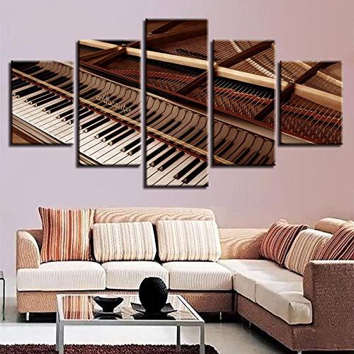 TXFMT Geen frame canvas decoratie schilderij handgemaakte DIY zwart-wit piano gouden retro stijl muziekinstrument foto's non-woven canvas 5 stuk kunst print moderne muur foto's wanddecoratie desi 200*100CM
