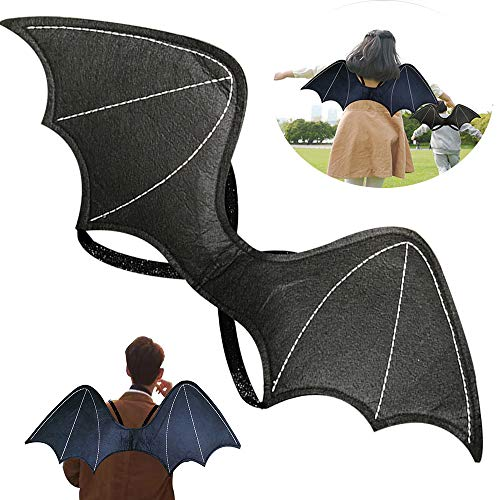 Bat Wings Adult Fake Bat Backpack Realistic Scary Prank Props for HalloweenCostumes Party Dress up Black