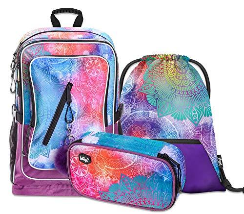 Schulrucksack Set Mädchen 3 Teilig - Schultasche ab 3. Klasse - Grundschule Ranzen mit Brustgurt - Ergonomischer Schulranzen (Mandala)