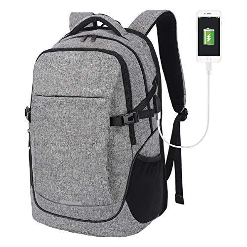 Laptop Rucksack, Rucksack Herren 19 Zoll Laptoptasche mit USB Ladeanschluss, Laptop Schulrucksack Multifunktion Business Reisen Rucksack für Herren Damen - Dunkelgrau