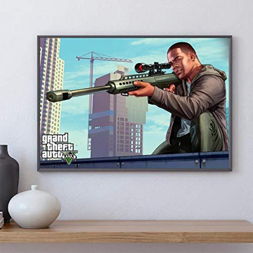 shuimanjinshan GTA 5 Poster Leinwand Wandkunst Grand Theft Auto V Spiel Tapete Drucke Bar Aufkleber Wandbild Schlafzimmer Dekoration 40x60cm Kein Rahmen P-350