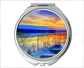 Mirror,Compact Mirror,fishs theme of Pocket Mirror,portable mirror 1 X 2X Magnifying