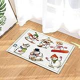 Navidad Snowman Ski Clean Floor Ejercicio Alfombra de baño Antideslizante Entrada para niños Alfombrilla de Puerta de Entrada Interior al Aire 60x40cm Accesorios de baño
