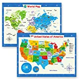 2 Pack - World Map Poster for Kids Wall and...