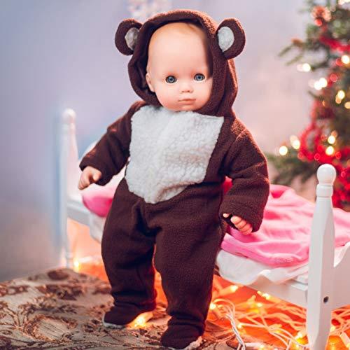 "15"" Doll Clothes For American Girl 's Bitty Baby & Bitty Twins, Soft Teddy Bear Cub Sleeper Pajamas"