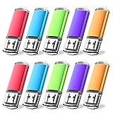JUANWE 10 Pack 16GB USB Flash Drive USB 2.0 Thumb Drive Jump Drive Memory Stick Pen - Blue/Purple/Red/Green/Orange (16GB, 5 Mixed Color)