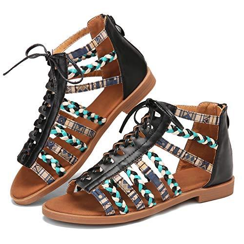gracosy Sandalias de Mujer Sandalias Romanas de Encaje Sandalias Planas Casuales de Verano Sandalias de Playa de Vacaciones Zapatos Planos Elegantes Estilo étnico Suave y Cómodo