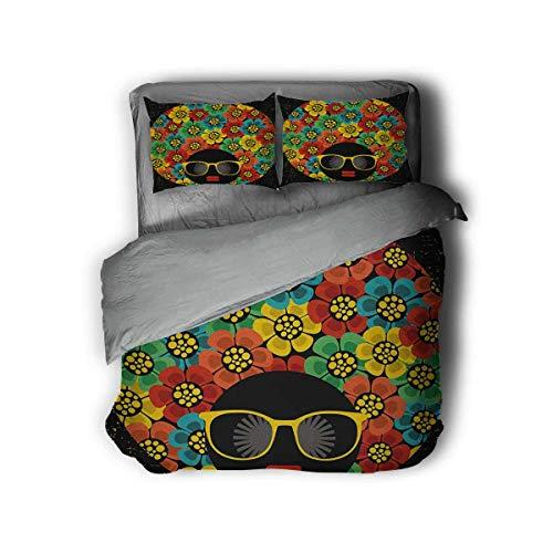 Luoiaax 70s Party Paquete de 3 (1 funda de edredón y 2 fundas de almohada) Ropa de cama abstracta mujer estilo de pelo con flores coloridas gafas de sol labios gráfico poliéster (King) Multicolor