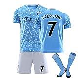 MEASBQ Camiseta de fútbol de esterlina # 7 de los Hombres, Uniforme del Juego de fútbol de Manchester, el fanático del fútbol de la Luna Azul Jersey, el hogar + lejos, el t Blue-M