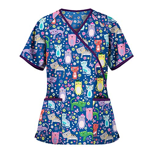 Uniformes Sanitarios Mujer Dibujos Blusa de Bolsillo de Color sólido Uniforme de Trabajo
