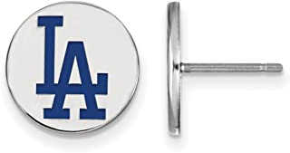 MLB Los Angeles Dodgers Sterling Silver MLB LogoArt Los Angeles Dodgers Sm Enl Disc Earrings Size One Size